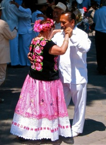 Dancers in traditional Oaxacan dress