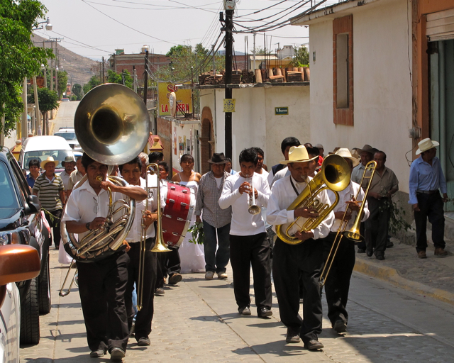 Brass band on a street in Teotitlán del Valle