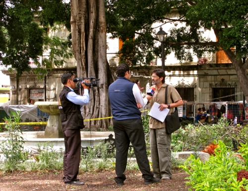 Man being interviewed by Azteca TV about fallen tree