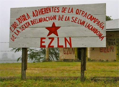 Roadside billboard: Ejido Jotola Adherentes de la otra campaña de la Sexta Declaracion de la Selva Lacandona