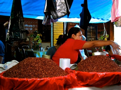 Woman selling chapulines from two large baskets.