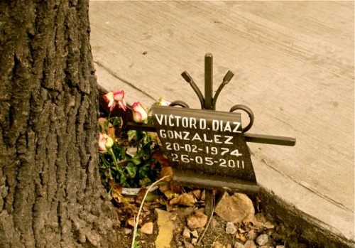 Sidewalk memorial to Victor D. Diaz Gonzalez