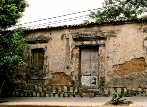 Front of dilapidated building