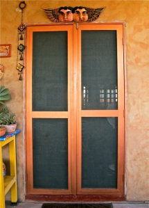 New wood frame screen door
