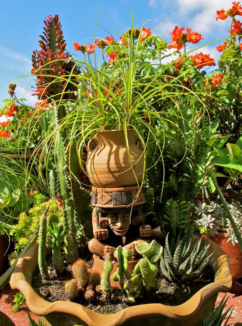 Garden god surrounded by succulents and cactus