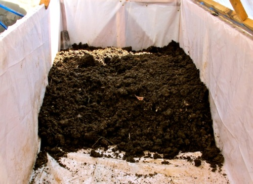 Rich soil in composting box