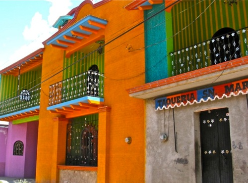 Colorfully painted buildings