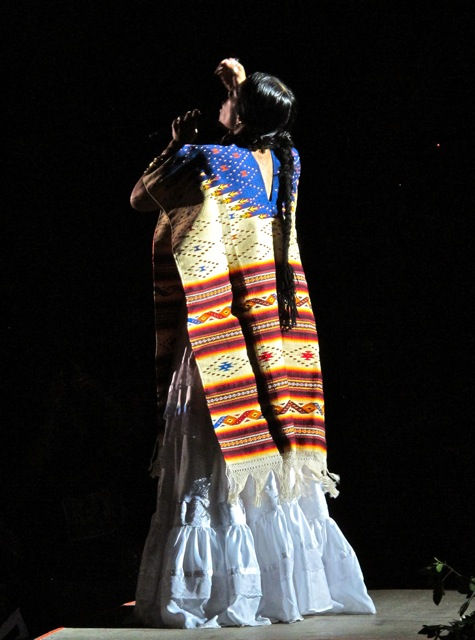 Lila Downs wearing a serape.