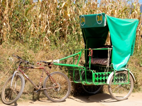 Green cart powered by a bicycle