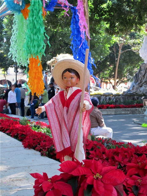 Mannequin of boy in sombrero and sarape
