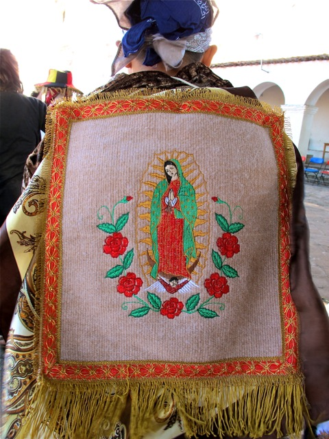 Virgin of Guadalupe embroidered on the back of the cape of a Danzante.