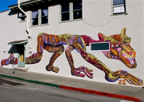 Multicolor mountain lion wall art.