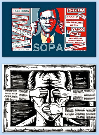 Two posters: #1 listing websites going dark toda; #2 showing a face being gagged.