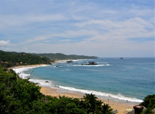 View of Mazunte beach from hill above.