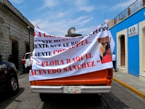 Banner on back of truck