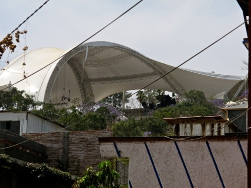 Side view of missing wing of Guelaguetza Auditorium