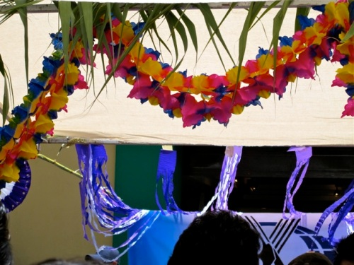 Palm fronds hanging above; purple and multicolored garlands.