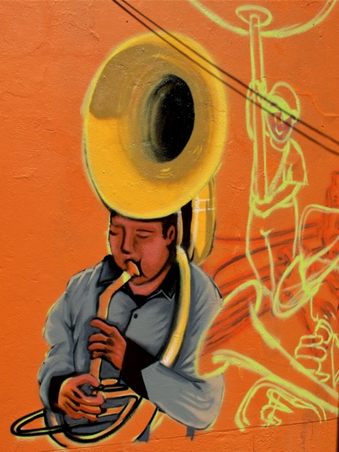 Wall art of tuba player
