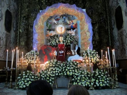Altar with candles and lights.