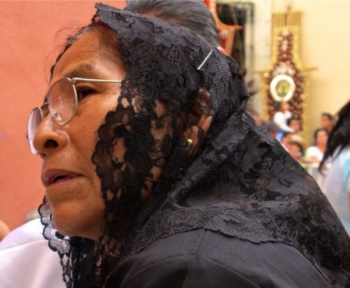 Profile of a woman wearing black veil and glasses.