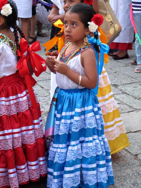 Girl wearing a costume from the Costa region