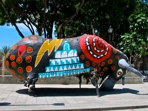 Colorful gigantic papermache bull