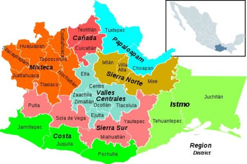Color coded map of the regions and districts of Oaxaca