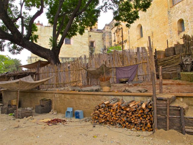 Movie set depicting early 1800s Mexican camp site