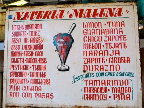 Nevería Malena sign listing 34 flavors
