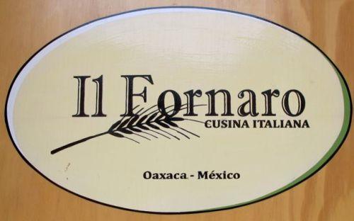 Oval sign: Il Fornaro Cucina Italiana Oaxaca - Mexico