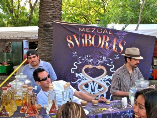 3 guys behind counter offering shots of mezcal