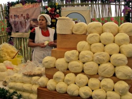 Display of cheeses with woman vendor behind counter