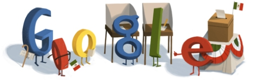 Googe doodle with voting booths, Mexican flag...