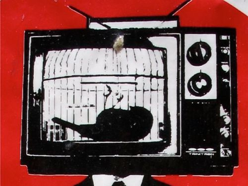 Graphic in red, black, and white of dead canary in a cage on a TV moniter
