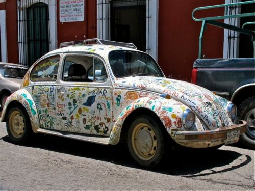 VW bug painted with decoration