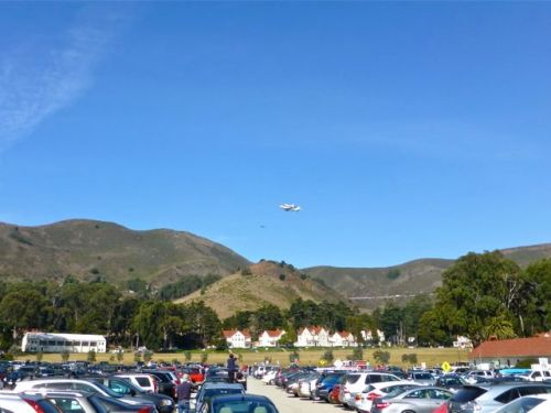 Endeavor shuttle in distance above the hills of the Marin Headlands