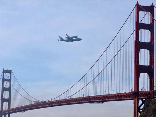 Endeavor above Golden Gate Bridge
