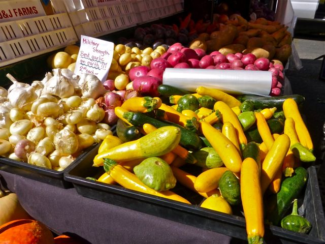 Vegetables in bins at outdoor market