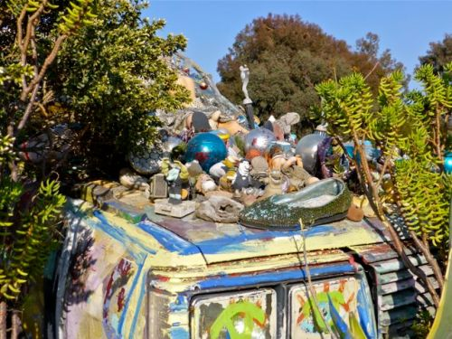 Roof of car decorated with found objects