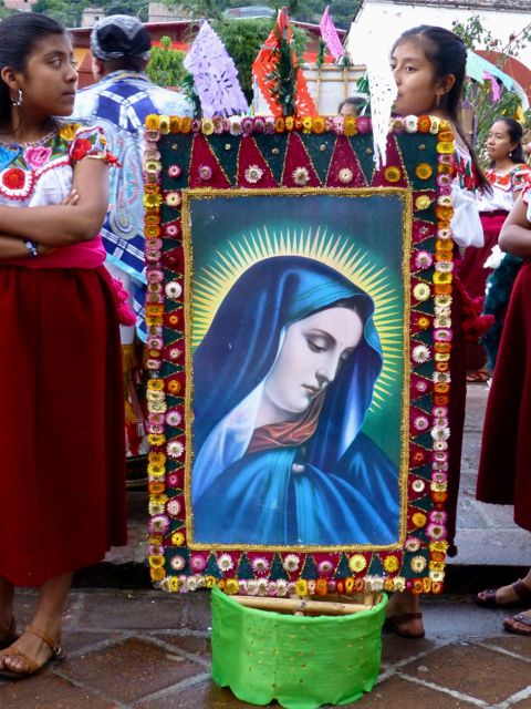 Decorated canasta with image of Virgin Mary.