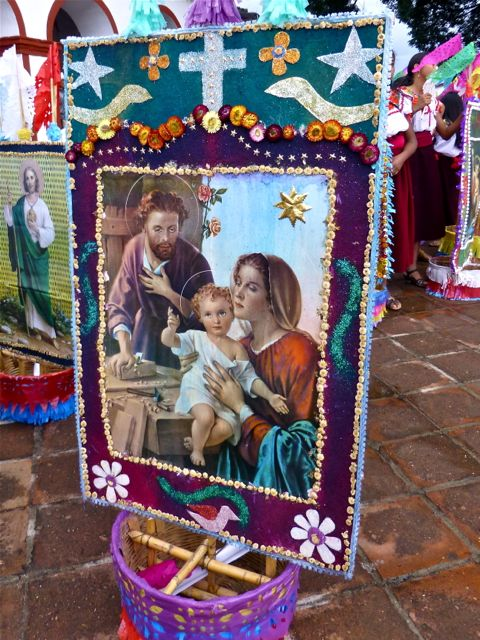 Decorated canasta with religious scene.