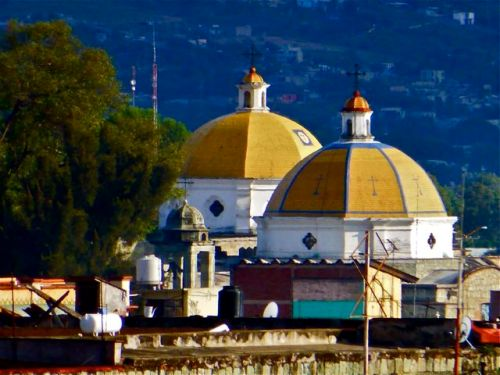 Two yellow domes of Templo San Francisco