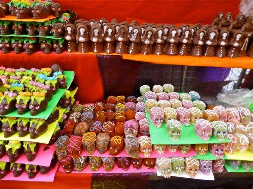Shelves of sweet calaveras