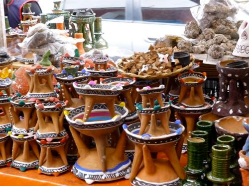 Clay three-legged incense burners