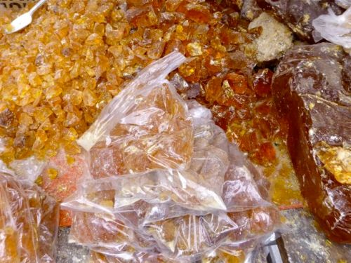 Bags and piles of copal resin