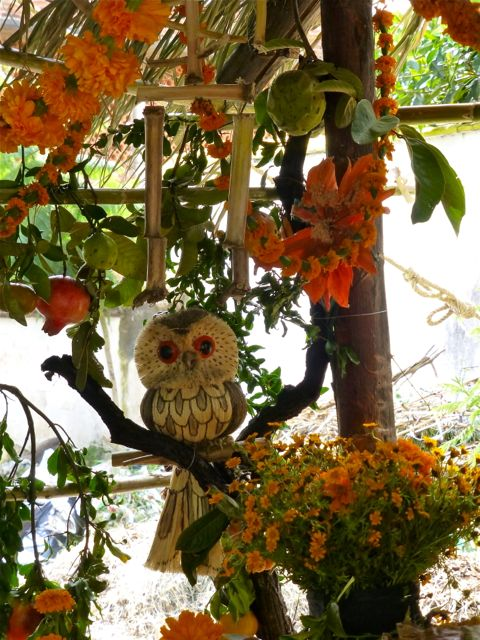 Carved owl and garlands