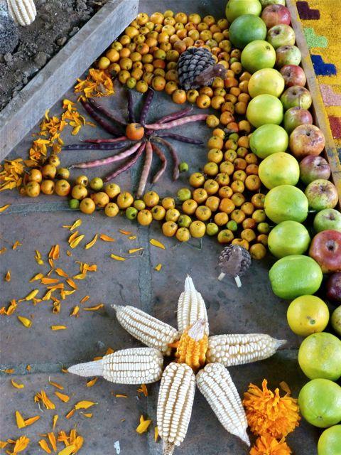 Apples, corn, beans, pinecone turkeys, marigolds