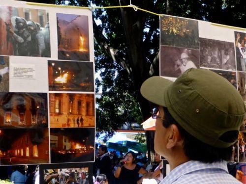 Man with cap looking at photos