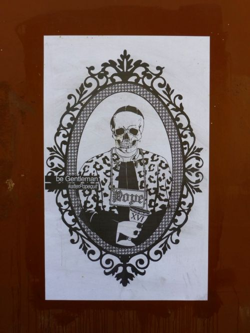 Black and white skeleton portrait of pope