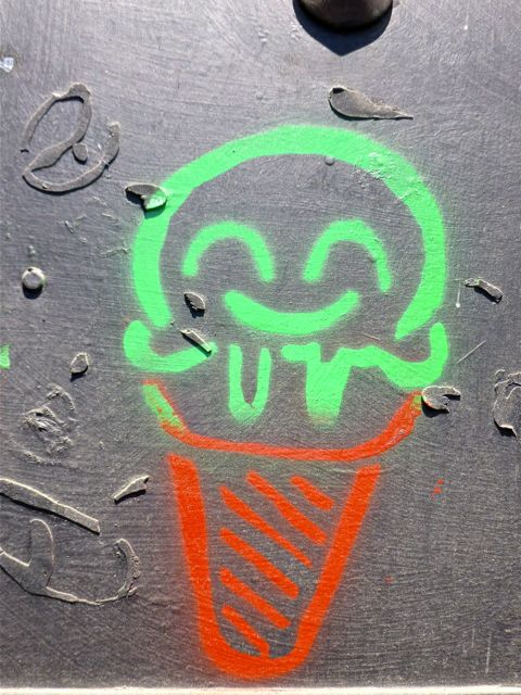 Ice cream cone painted on wall